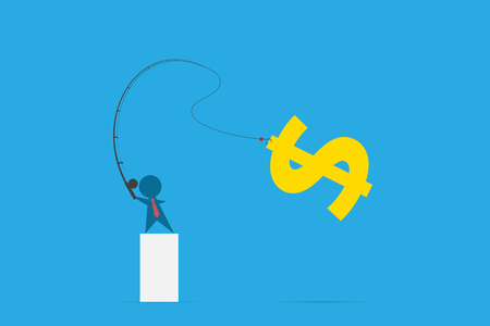 Businessman use fishing rod to get dollar symbol, idea and business concept Ilustrace