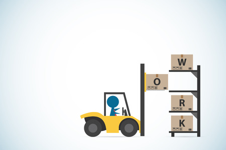 A businessman drive forklift to putting box on shelf, business concept illustration.11
