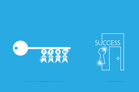key of success with businessman symbol, teamwork and business concept