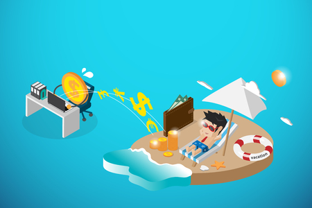 passive income: isometric happy businessman and money working, passive income and business concept