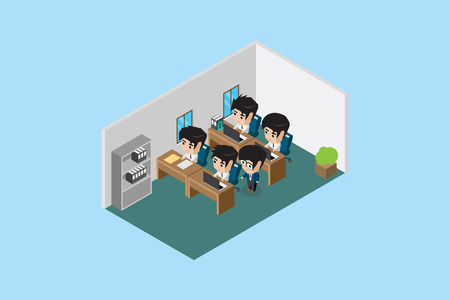isometric manager guide his team to do a good work, office and business concept