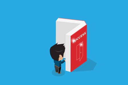 Isometric businessman open a book, success and business concept Ilustrace