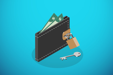 isometric closed black wallet and lock with key, saving money and business concept Ilustrace