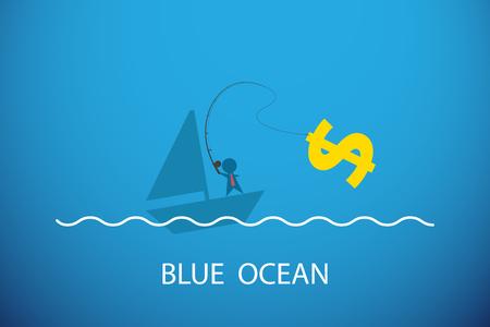 Zakenman die dollarsymbool in blauwe oceaan, bedrijfsconcept vissen. Stock Illustratie