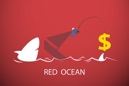 Zakenman die dollarsymbool in rode oceaan, bedrijfsconcept vissen