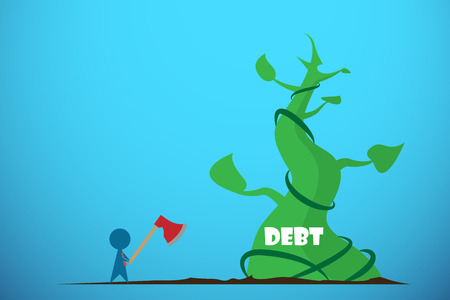 Businessman holding axe to cut giant beanstalk, debt and business concept