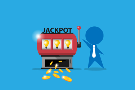Businessman play slot machine and win jackpot to get coins, idea and business concept