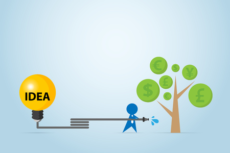 Businessman watering money tree with light bulb tank, idea and business concept