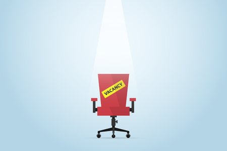 Red chair with vacancy label, human resource and business concept