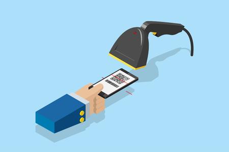 escáner de código de barras que escanea el código qr en el teléfono inteligente para el pago electrónico, la tecnología y el concepto de negocio
