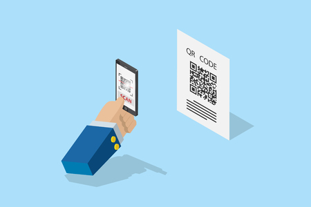 isometric business hand holding smartphone to scan qr code for detail, technology and business concept Vectores