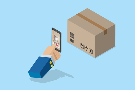 isometric business hand holding smartphone to scan qr code on box for detail of merchandise, technology and business concept