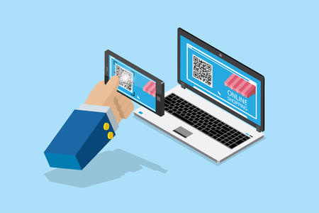 isometric payment and online shopping by qr code with smartphone, business concept Ilustrace