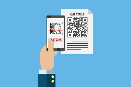 business hand holding smartphone to scan qr code on paper for detail, technology and business concept