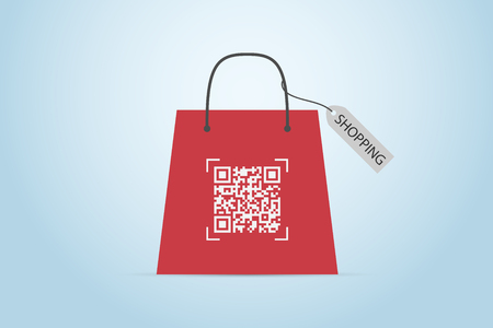 qr code on shopping bag with label, technology and business concept