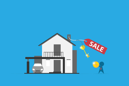 Home with sell label and key, real estate and business concept