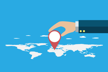business hand pin area with location symbol on world map, vision and business concept vector illustration