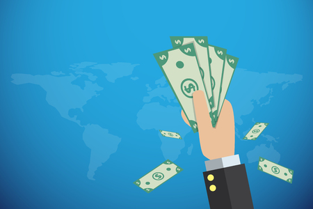 business hand holding banknotes with world map, financial and business concept Ilustrace