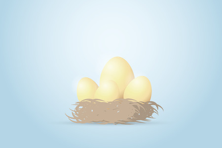 Four golden eggs in the nest, investment and business concept