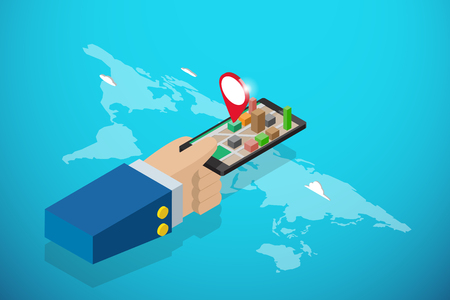 Isometric business hand holding smartphone with red pin, navigation and business concept