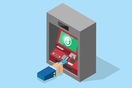 isometric business hand inserting credit card into ATM machine, technology and business concept