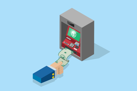 isometric business hand pull banknote from ATM machine, technology and business concept