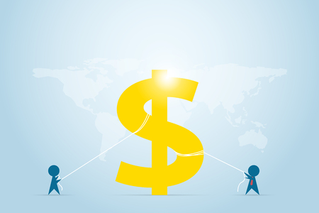 Businessmen pull the rope for dollar symbol, competition and business concept
