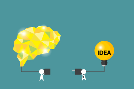 Businessmen try to connect brain and light bulb, idea and business concept