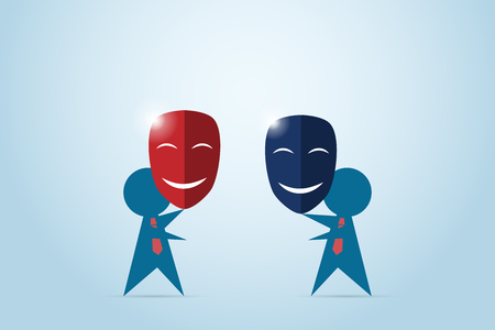 Businessmen try to shake hand while holding red and dark blue masks, a business concept.