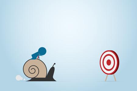 Biznesmen rusza się wolno strzałki deska z ślimaczkiem, biznesowy pojęcie.