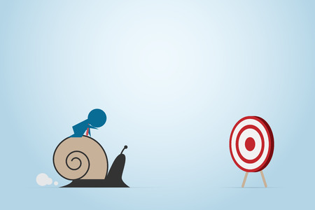 Businessman moving slowly to dart board with snail, business concept.