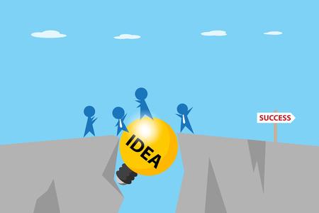 Businessmen pass a gap between cliffs with light bulb, idea and business concept.