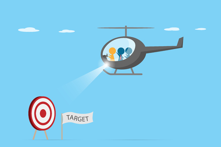 Orange leader driving helicopter with blue employee to find dash board, leadership and business concept. Ilustrace
