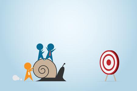 Líder naranja que empuja el caracol con el empleado azul más rápido para lanzar tablero, dirección y concepto del negocio. Vectores
