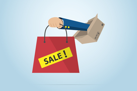 Hand holding red bag with box, sale concept Ilustrace