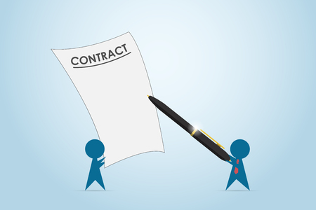 Businessman holding pen to sign contract, business concept