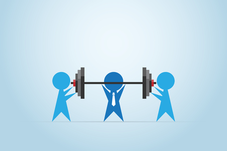Businessmen coaching another businessman to lift weights, teamwork and business concept