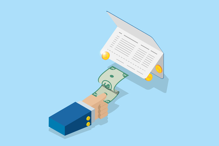 isometric business hand pull banknote from account passbook, financial and business concept