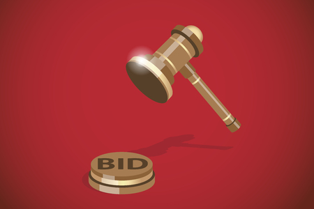 Isometric wooden gavel, auction and business concept