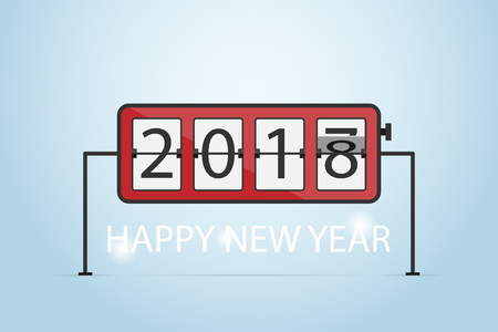 HAPPY NEW YEAR 2018, flip clock concept