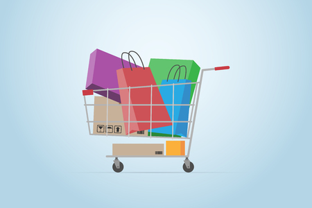 Shopping cart full of boxes and bags, flat design