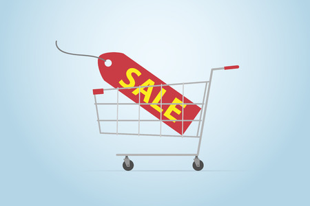 Shopping cart with sale label, flat design Ilustrace