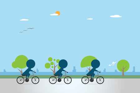 Cyclists riding bicycle on bike lane health concept Ilustrace