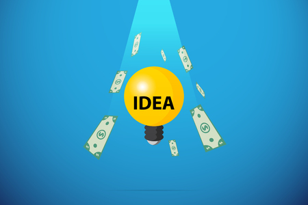 Light bulb with banknote