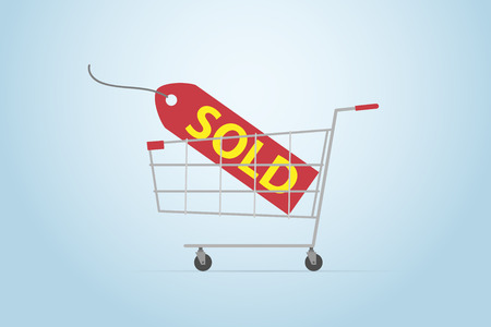 Shopping cart with sold label