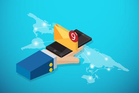 Isometrische Geschäftshand, die Smartphone mit Umschlag und Mitteilungsblase auf Weltkarte, Kommunikation und Geschäftskonzept hält Standard-Bild - 92123933