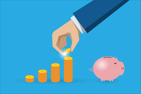 business hand holding coin with coins stack and piggy bank, saving and investment concept