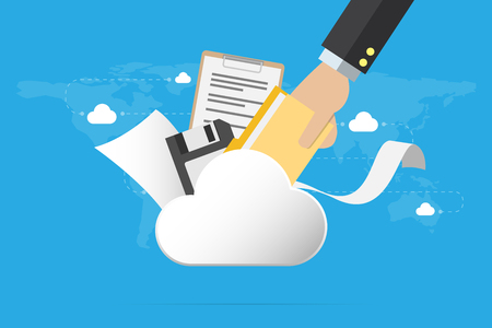 Business hand insert document into the cloud with floppy disk and papers, backup data and business concept.