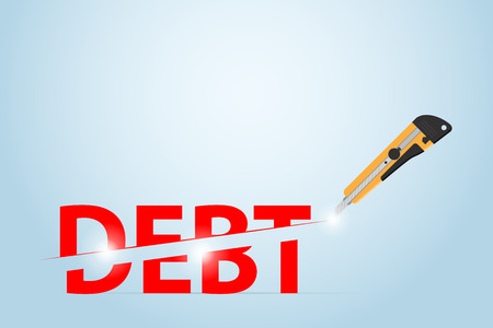 Cutter knife cutting debt word, financial and business concept. Illustration