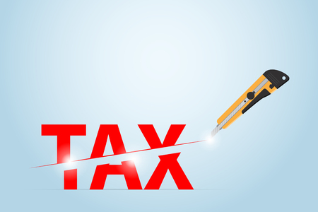 Cutter knife cutting tax word, taxation and business concept. Illustration